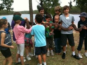 Children with Giant Python